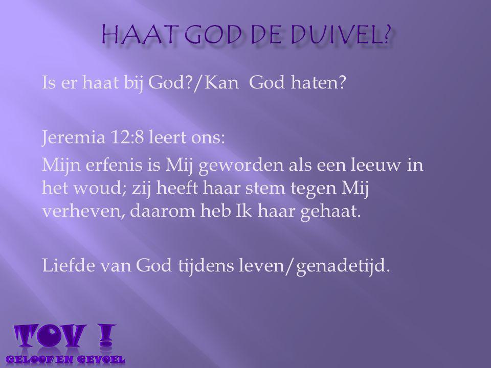 Is er haat bij God?/Kan God haten? Jeremia 12:8 leert ons: Mijn erfenis is Mij geworden als een leeuw in het woud; zij heeft haar stem tegen Mij verhe