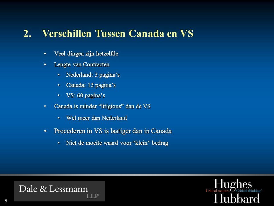 9 2.Verschillen Tussen Canada en VS •Veel dingen zijn hetzelfde •Lengte van Contracten •Nederland: 3 pagina's •Canada: 15 pagina's •VS: 60 pagina's •Canada is minder litigious dan de VS •Wel meer dan Nederland •Procederen in VS is lastiger dan in Canada •Niet de moeite waard voor klein bedrag •Veel dingen zijn hetzelfde •Lengte van Contracten •Nederland: 3 pagina's •Canada: 15 pagina's •VS: 60 pagina's •Canada is minder litigious dan de VS •Wel meer dan Nederland •Procederen in VS is lastiger dan in Canada •Niet de moeite waard voor klein bedrag