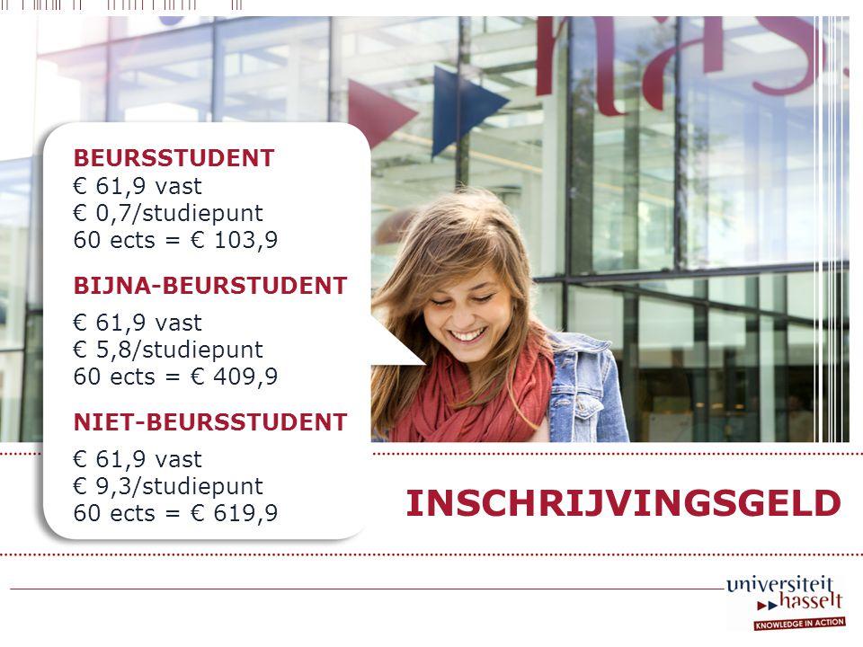 BEURSSTUDENT € 61,9 vast € 0,7/studiepunt 60 ects = € 103,9 BIJNA-BEURSTUDENT € 61,9 vast € 5,8/studiepunt 60 ects = € 409,9 NIET-BEURSSTUDENT € 61,9 vast € 9,3/studiepunt 60 ects = € 619,9 INSCHRIJVINGSGELD