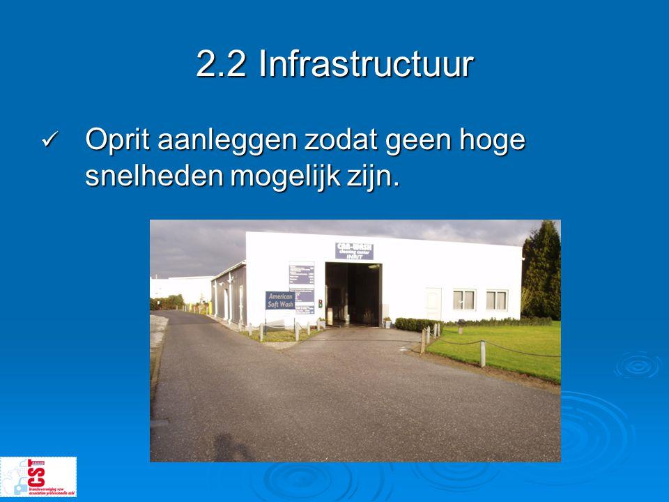 2.2 Infrastructuur  Oprit aanleggen zodat geen hoge snelheden mogelijk zijn.
