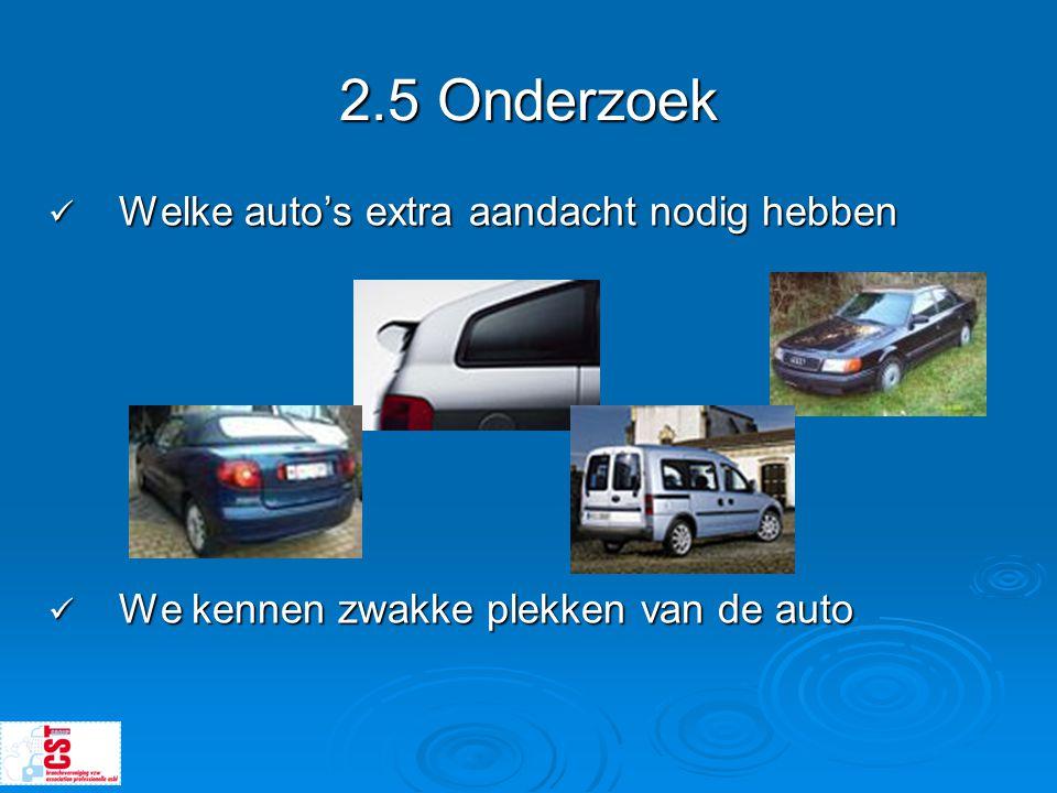 2.5 Onderzoek  Welke auto's extra aandacht nodig hebben  We kennen zwakke plekken van de auto