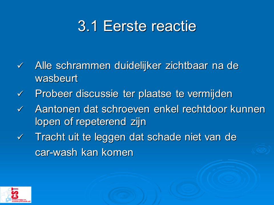 3.1 Eerste reactie  Alle schrammen duidelijker zichtbaar na de wasbeurt  Probeer discussie ter plaatse te vermijden  Aantonen dat schroeven enkel r