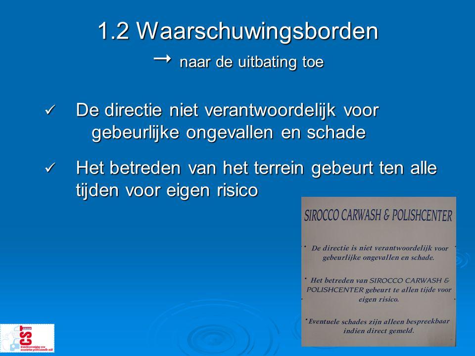 1.2 Waarschuwingsborden  naar de uitbating toe  De directie niet verantwoordelijk voor gebeurlijke ongevallen en schade  Het betreden van het terre