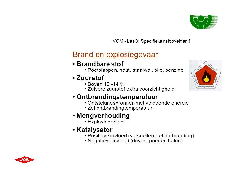 VGM - Les 8: Specifieke risicovelden 1 Chemicaliën Voorkomen • Als gas, damp, vloeistof, vaste stof, nevel, fijn stof • Lucht • Lucht bevat 21% zuurst