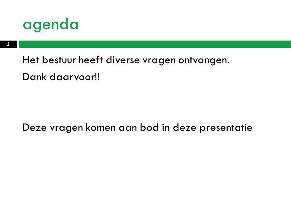 agenda Het bestuur heeft diverse vragen ontvangen.