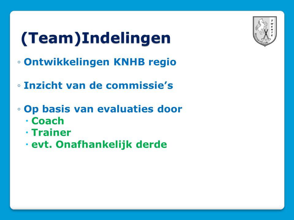 (Team)Indelingen ◦Ontwikkelingen KNHB regio ◦Inzicht van de commissie's ◦Op basis van evaluaties door  Coach  Trainer  evt.