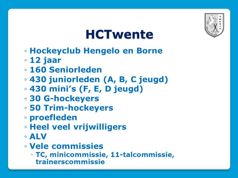 HCTwente ◦Hockeyclub Hengelo en Borne ◦12 jaar ◦160 Seniorleden ◦430 juniorleden (A, B, C jeugd) ◦430 mini's (F, E, D jeugd) ◦30 G-hockeyers ◦50 Trim-hockeyers ◦proefleden ◦Heel veel vrijwilligers ◦ALV ◦Vele commissies  TC, minicommissie, 11-talcommissie, trainerscommissie