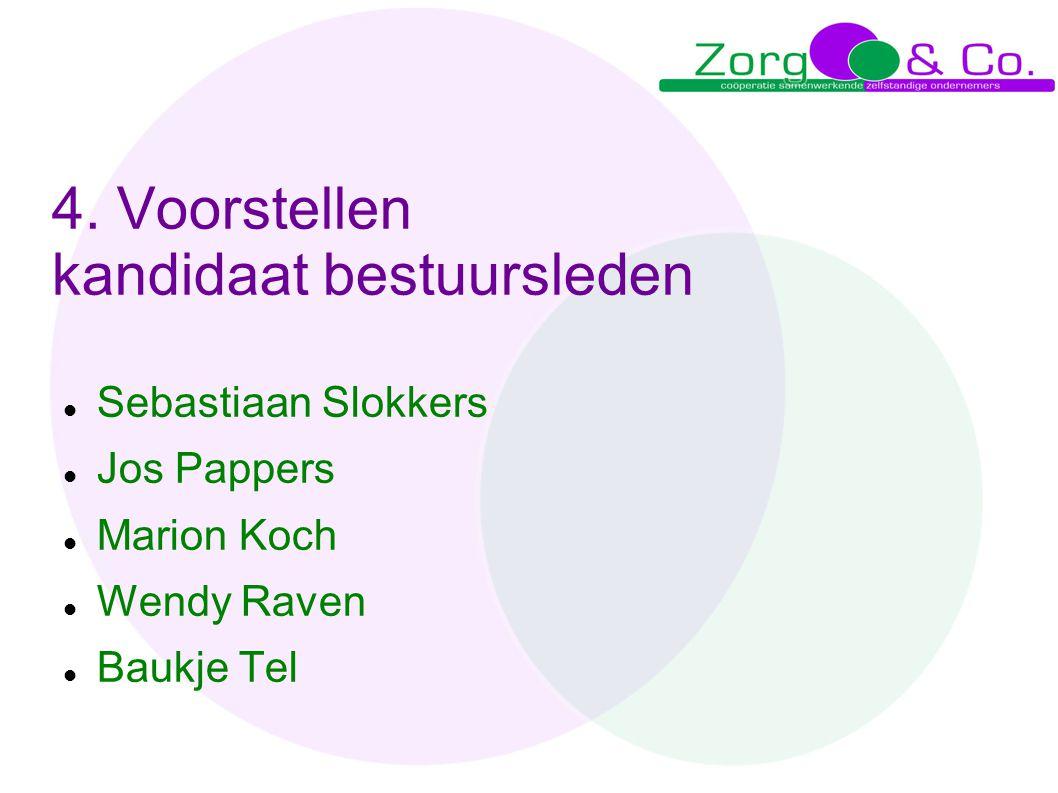 4. Voorstellen kandidaat bestuursleden  Sebastiaan Slokkers  Jos Pappers  Marion Koch  Wendy Raven  Baukje Tel