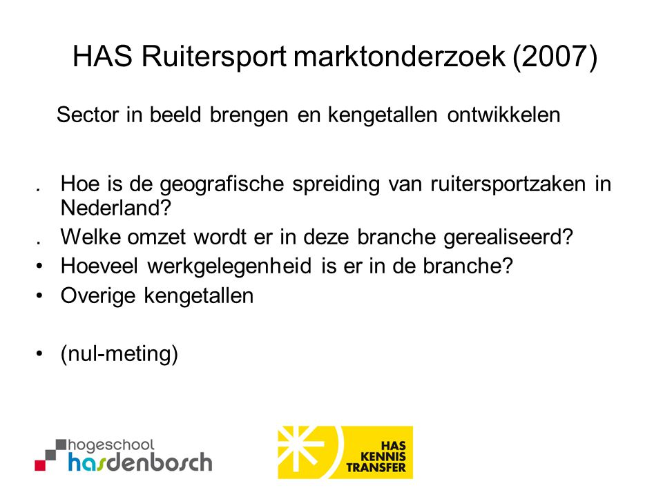 HAS Ruitersport marktonderzoek (2007).Hoe is de geografische spreiding van ruitersportzaken in Nederland?.Welke omzet wordt er in deze branche gereali