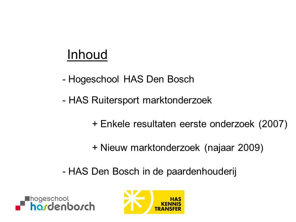 - Hogeschool HAS Den Bosch Inhoud - HAS Ruitersport marktonderzoek + Enkele resultaten eerste onderzoek (2007) + Nieuw marktonderzoek (najaar 2009) -