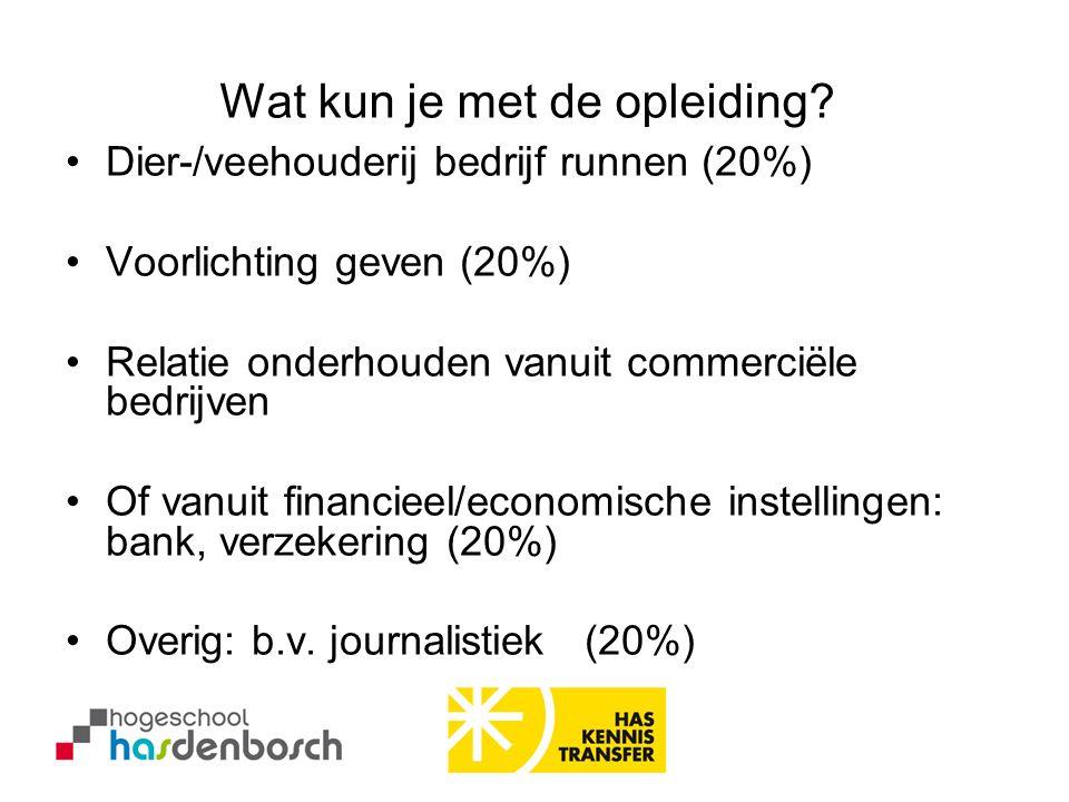 •Dier-/veehouderij bedrijf runnen (20%) •Voorlichting geven (20%) •Relatie onderhouden vanuit commerciële bedrijven •Of vanuit financieel/economische