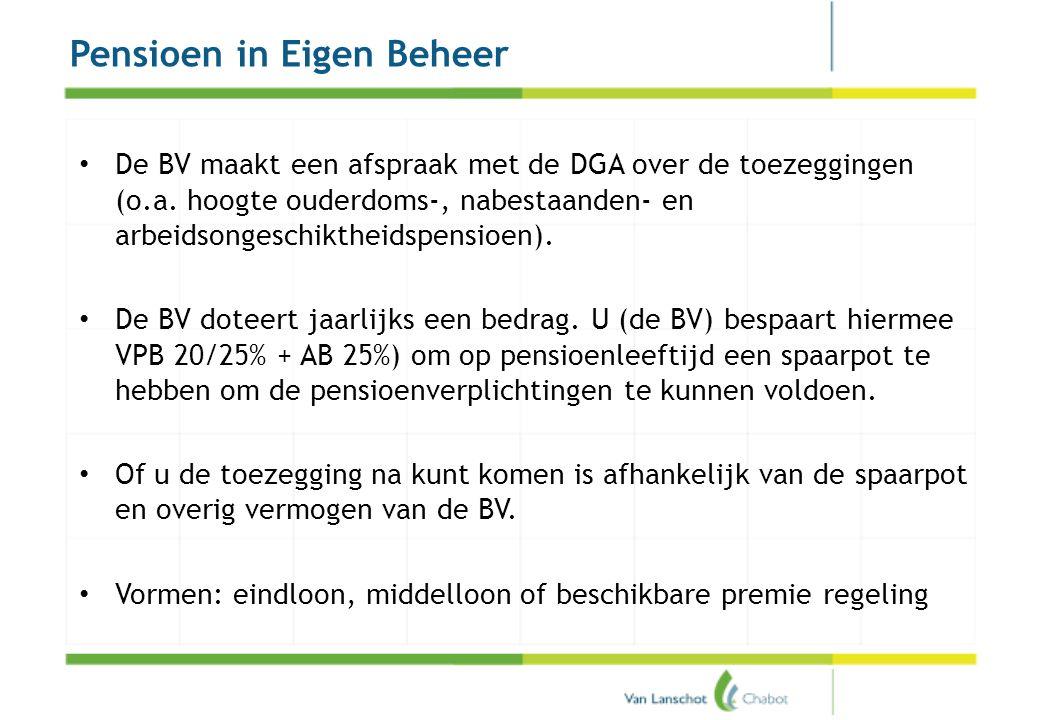 Pensioen in Eigen Beheer • De BV maakt een afspraak met de DGA over de toezeggingen (o.a. hoogte ouderdoms-, nabestaanden- en arbeidsongeschiktheidspe