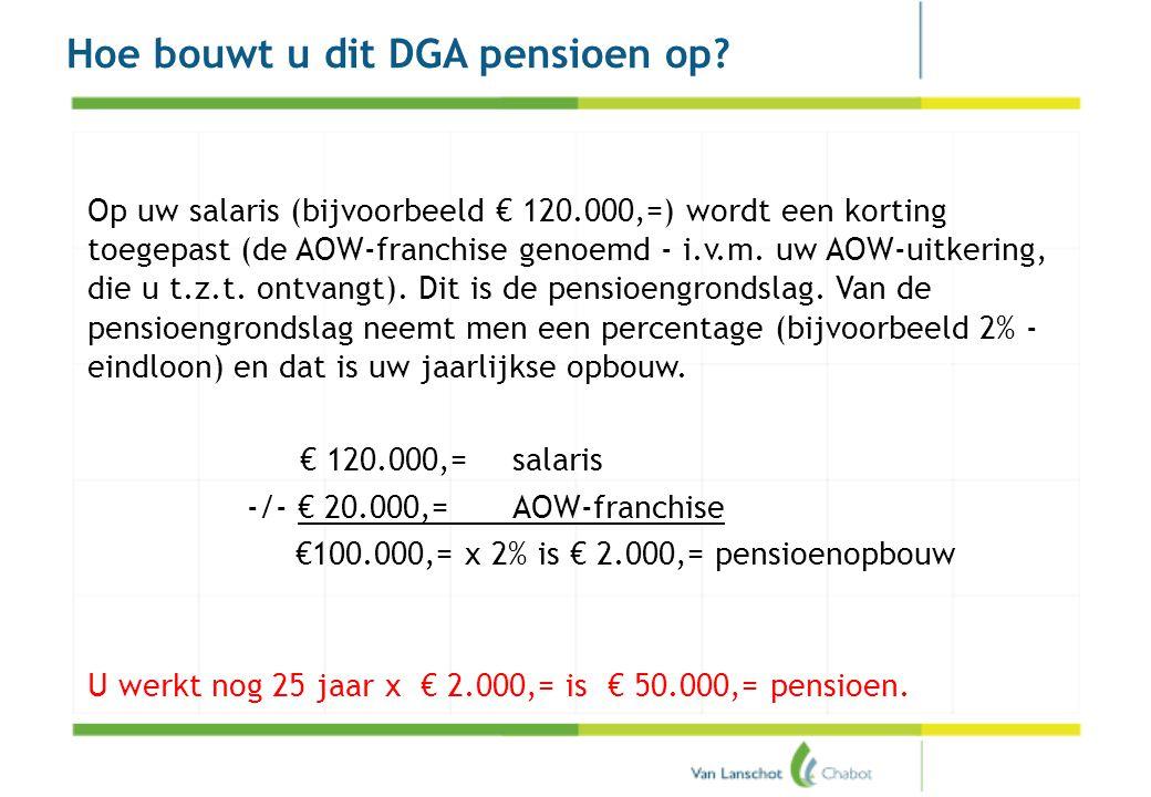Hoe bouwt u dit DGA pensioen op? Op uw salaris (bijvoorbeeld € 120.000,=) wordt een korting toegepast (de AOW-franchise genoemd - i.v.m. uw AOW-uitker