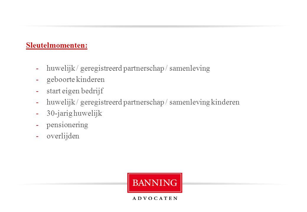 Sleutelmomenten: -huwelijk / geregistreerd partnerschap / samenleving -geboorte kinderen -start eigen bedrijf -huwelijk / geregistreerd partnerschap /