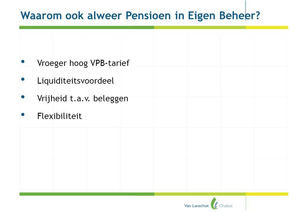 Pensioenakkoord Waarom ook alweer Pensioen in Eigen Beheer? • Vroeger hoog VPB-tarief • Liquiditeitsvoordeel • Vrijheid t.a.v. beleggen • Flexibilitei
