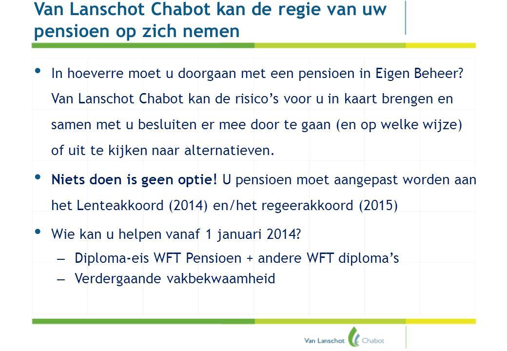 Pensioenakkoord Van Lanschot Chabot kan de regie van uw pensioen op zich nemen • In hoeverre moet u doorgaan met een pensioen in Eigen Beheer? Van Lan