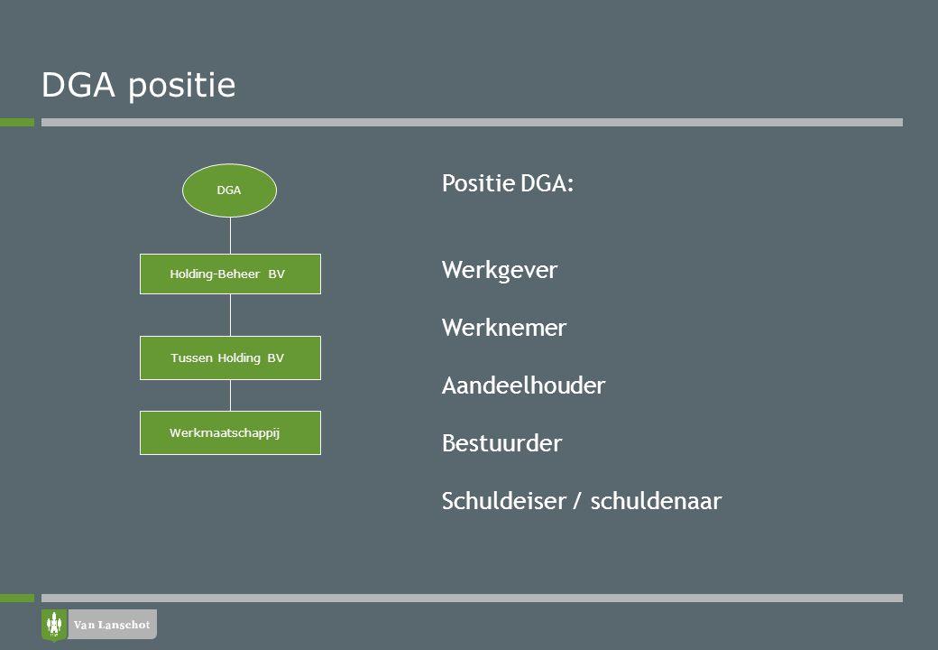 DGA positie Holding-Beheer BV Werkmaatschappij DGA Tussen Holding BV Positie DGA: Werkgever Werknemer Aandeelhouder Bestuurder Schuldeiser / schuldena