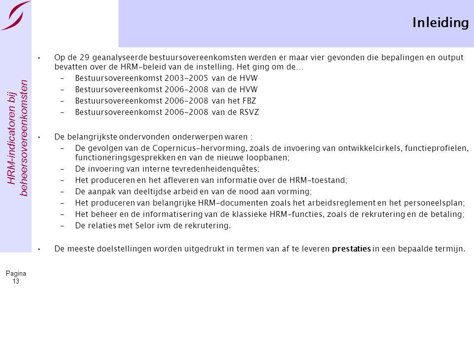 HRM-indicatoren bij beheersovereenkomsten Pagina 13 Inleiding •Op de 29 geanalyseerde bestuursovereenkomsten werden er maar vier gevonden die bepalingen en output bevatten over de HRM-beleid van de instelling.
