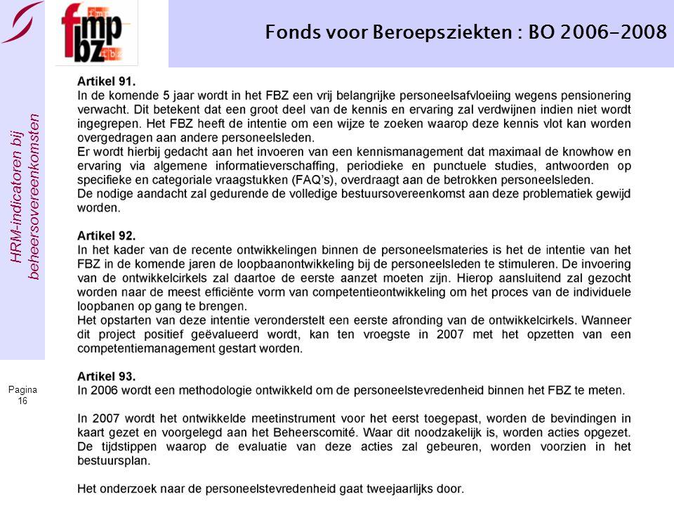 HRM-indicatoren bij beheersovereenkomsten Pagina 16 Fonds voor Beroepsziekten : BO 2006-2008