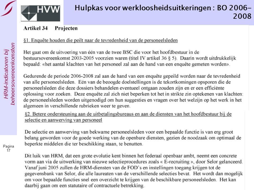 HRM-indicatoren bij beheersovereenkomsten Pagina 17 Hulpkas voor werkloosheidsuitkeringen : BO 2006- 2008