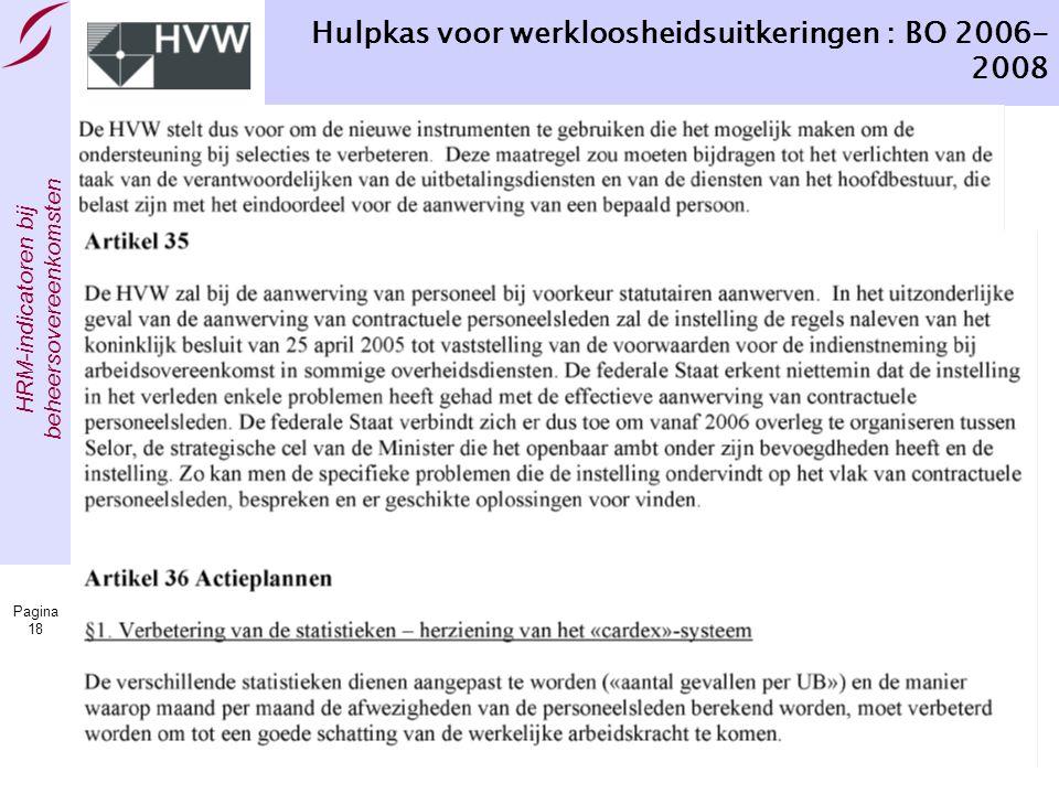 HRM-indicatoren bij beheersovereenkomsten Pagina 18 Hulpkas voor werkloosheidsuitkeringen : BO 2006- 2008