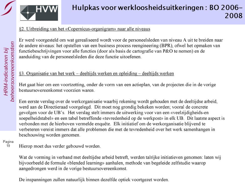 HRM-indicatoren bij beheersovereenkomsten Pagina 19 Hulpkas voor werkloosheidsuitkeringen : BO 2006- 2008