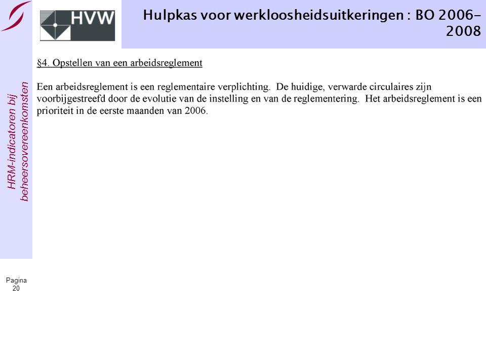 HRM-indicatoren bij beheersovereenkomsten Pagina 20 Hulpkas voor werkloosheidsuitkeringen : BO 2006- 2008