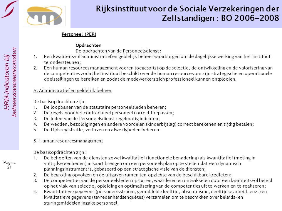 HRM-indicatoren bij beheersovereenkomsten Pagina 21 Rijksinstituut voor de Sociale Verzekeringen der Zelfstandigen : BO 2006-2008 Personeel (PER) Opdr