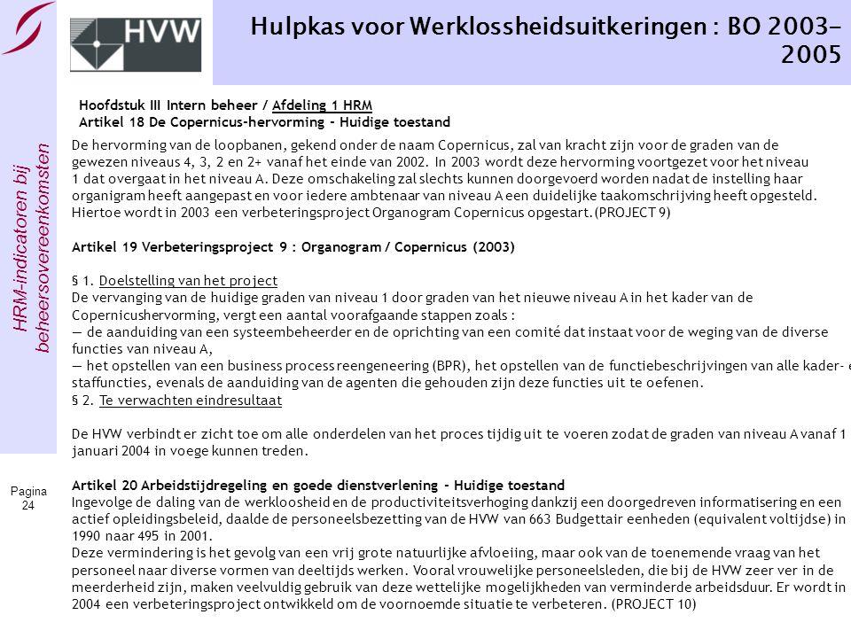 HRM-indicatoren bij beheersovereenkomsten Pagina 24 Hulpkas voor Werklossheidsuitkeringen : BO 2003- 2005 Hoofdstuk III Intern beheer / Afdeling 1 HRM