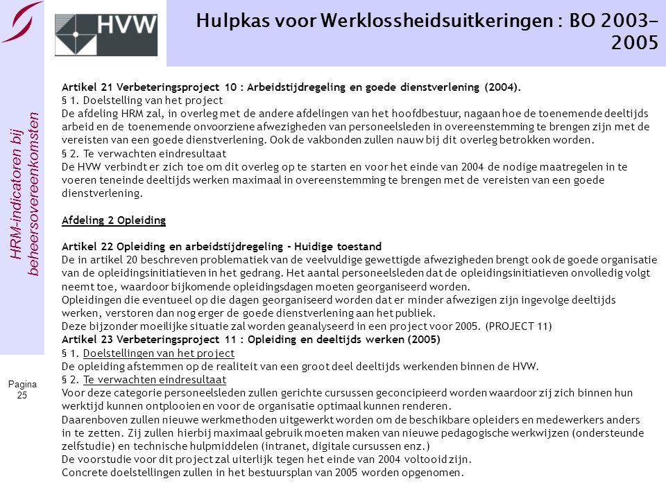 HRM-indicatoren bij beheersovereenkomsten Pagina 25 Hulpkas voor Werklossheidsuitkeringen : BO 2003- 2005 Artikel 21 Verbeteringsproject 10 : Arbeidst