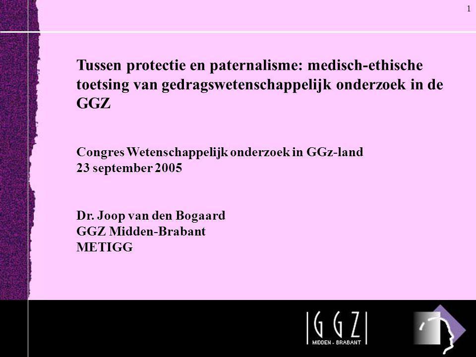 Tussen protectie en paternalisme: medisch-ethische toetsing van gedragswetenschappelijk onderzoek in de GGZ Congres Wetenschappelijk onderzoek in GGz-