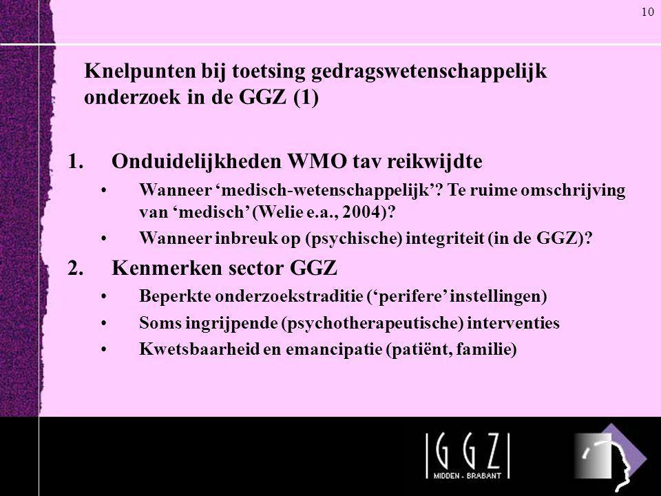 Knelpunten bij toetsing gedragswetenschappelijk onderzoek in de GGZ (1) 1.Onduidelijkheden WMO tav reikwijdte •Wanneer 'medisch-wetenschappelijk'? Te