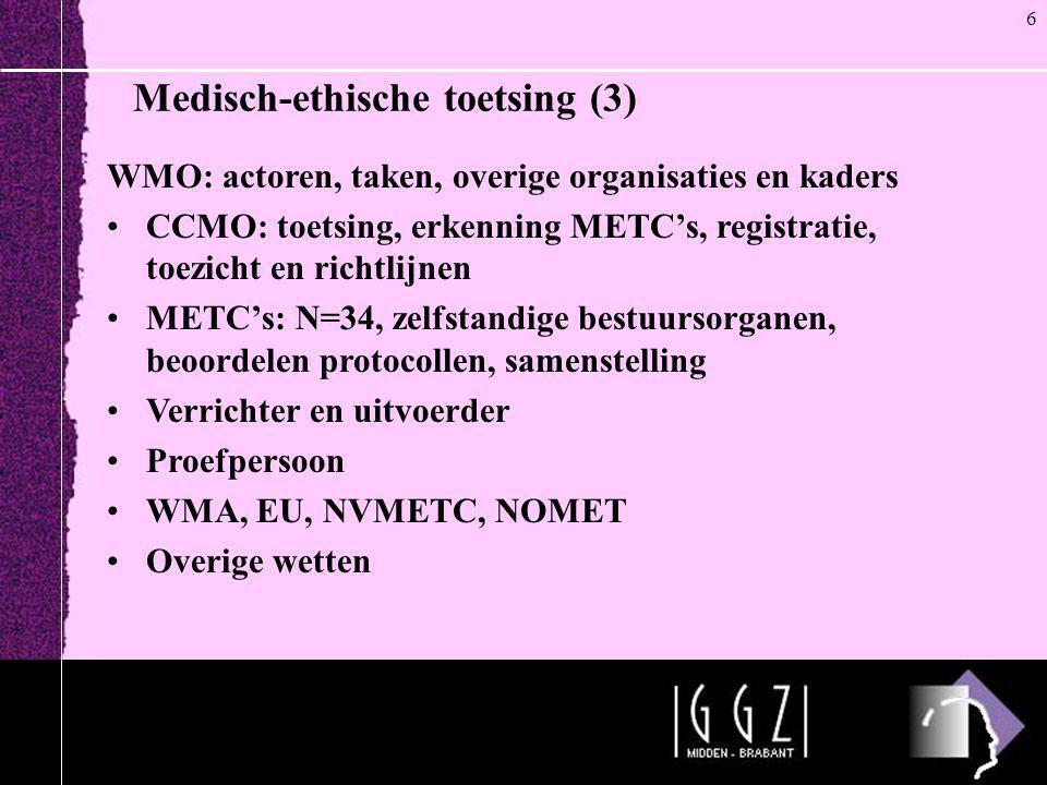 Medisch-ethische toetsing (3) WMO: actoren, taken, overige organisaties en kaders •CCMO: toetsing, erkenning METC's, registratie, toezicht en richtlij