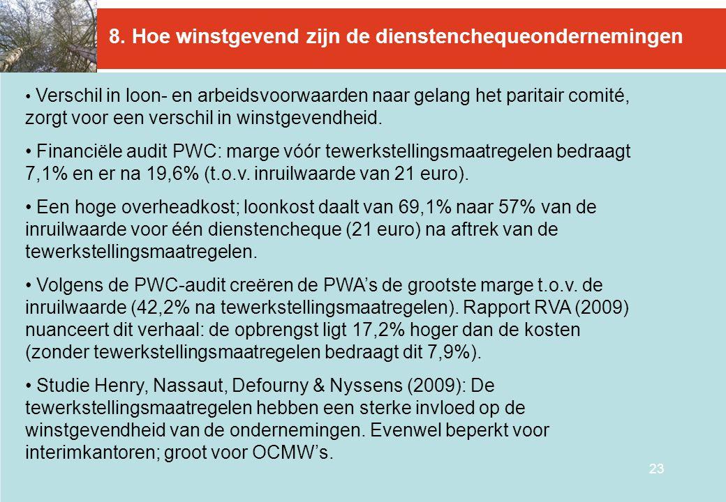23 8. Hoe winstgevend zijn de dienstenchequeondernemingen • Verschil in loon- en arbeidsvoorwaarden naar gelang het paritair comité, zorgt voor een ve