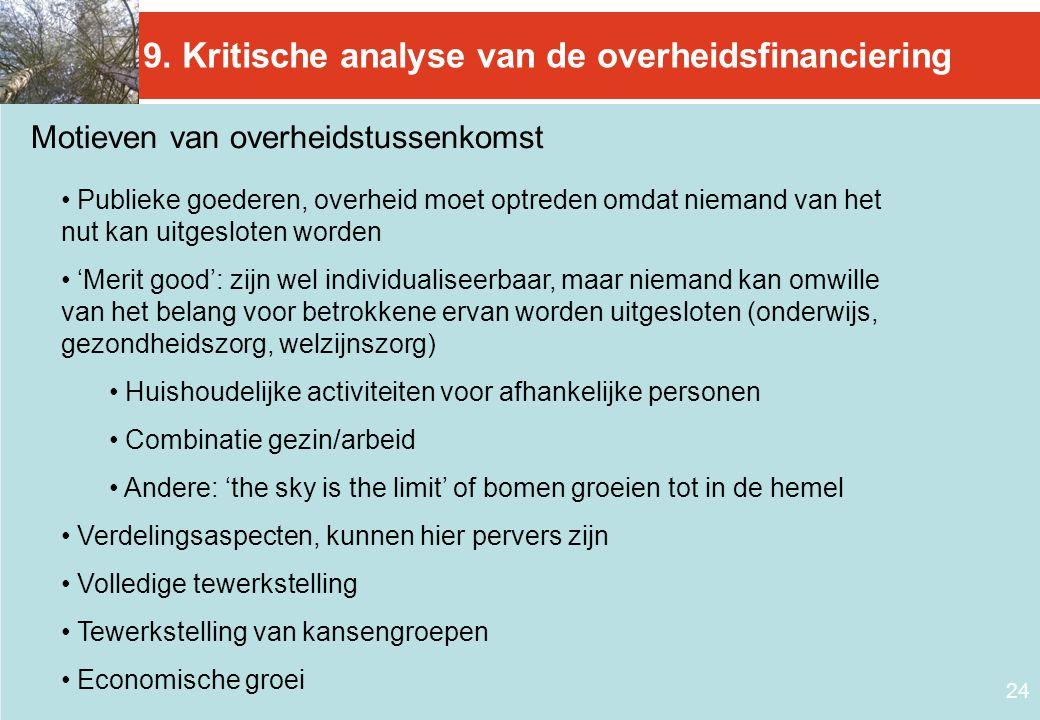 24 9. Kritische analyse van de overheidsfinanciering Motieven van overheidstussenkomst • Publieke goederen, overheid moet optreden omdat niemand van h