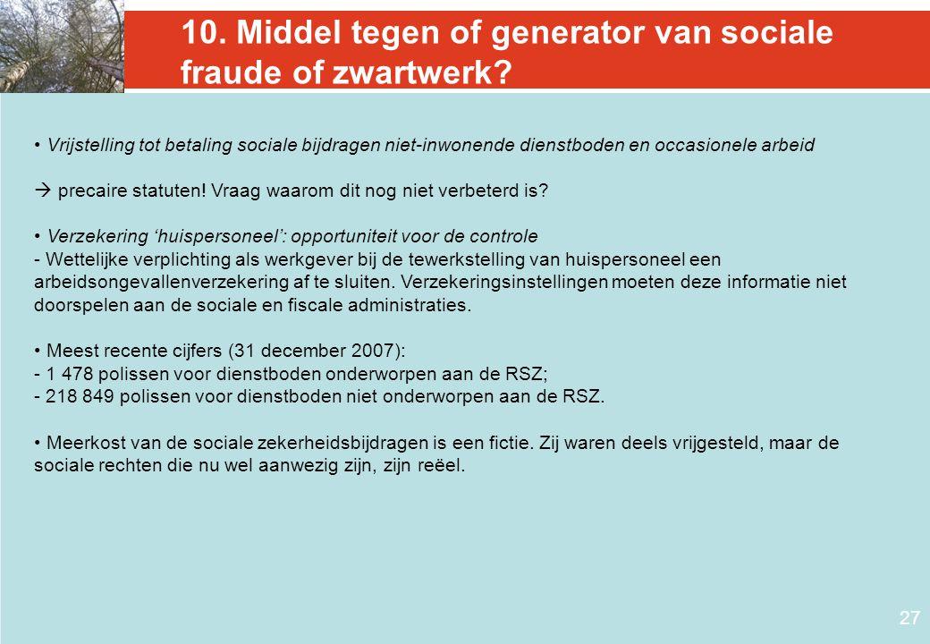 10. Middel tegen of generator van sociale fraude of zwartwerk? • Vrijstelling tot betaling sociale bijdragen niet-inwonende dienstboden en occasionele
