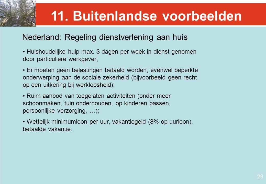 29 11. Buitenlandse voorbeelden Nederland: Regeling dienstverlening aan huis • Huishoudelijke hulp max. 3 dagen per week in dienst genomen door partic