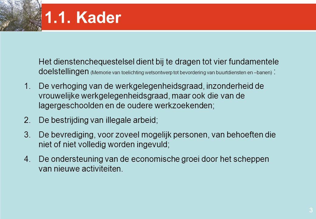 3 1.1. Kader Het dienstenchequestelsel dient bij te dragen tot vier fundamentele doelstellingen (Memorie van toelichting wetsontwerp tot bevordering v