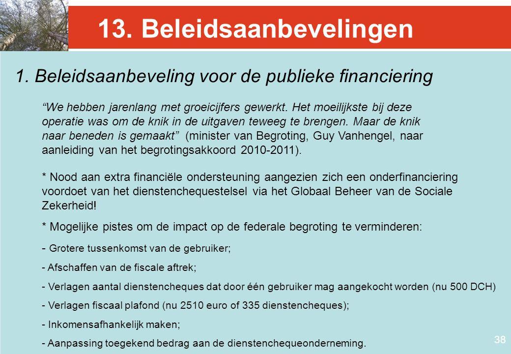"""38 13. Beleidsaanbevelingen 1. Beleidsaanbeveling voor de publieke financiering """"We hebben jarenlang met groeicijfers gewerkt. Het moeilijkste bij dez"""