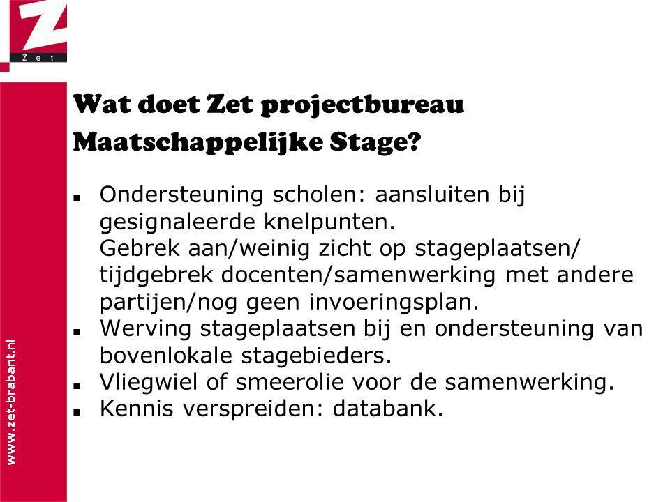 www.zet-brabant.nl Wat doet Zet projectbureau Maatschappelijke Stage.
