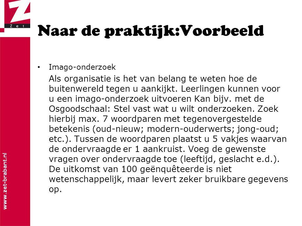 www.zet-brabant.nl Naar de praktijk:Voorbeeld ▪Imago-onderzoek Als organisatie is het van belang te weten hoe de buitenwereld tegen u aankijkt.