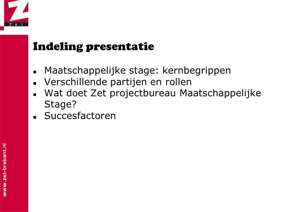 www.zet-brabant.nl Indeling presentatie  Maatschappelijke stage: kernbegrippen  Verschillende partijen en rollen  Wat doet Zet projectbureau Maatschappelijke Stage.