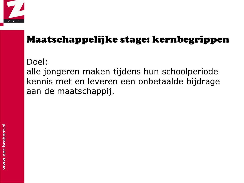 www.zet-brabant.nl Maatschappelijke stage: kernbegrippen Doel: alle jongeren maken tijdens hun schoolperiode kennis met en leveren een onbetaalde bijdrage aan de maatschappij.