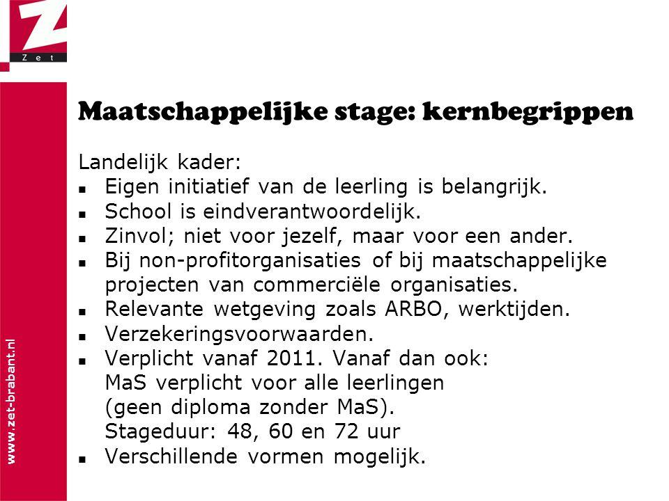 www.zet-brabant.nl Maatschappelijke stage: kernbegrippen Landelijk kader:  Eigen initiatief van de leerling is belangrijk.