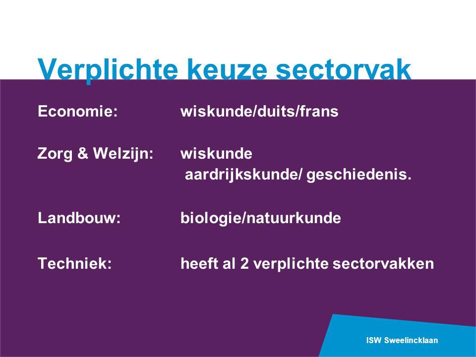 ISW Sweelincklaan Verplichte keuze sectorvak Economie: wiskunde/duits/frans Zorg & Welzijn: wiskunde aardrijkskunde/ geschiedenis.