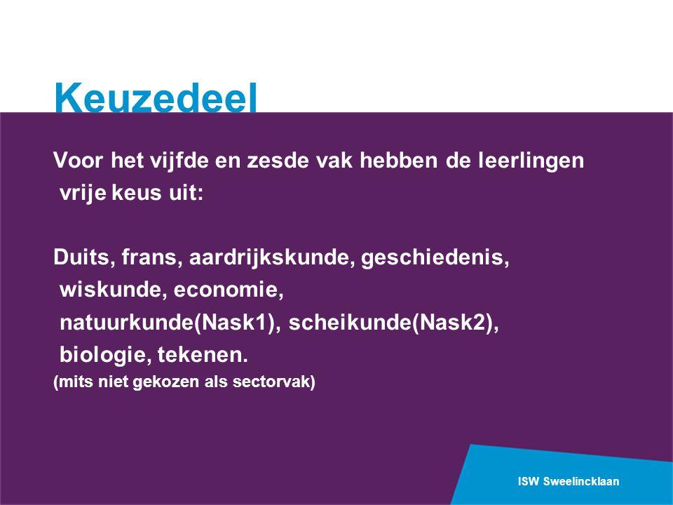 ISW Sweelincklaan Keuzedeel Voor het vijfde en zesde vak hebben de leerlingen vrije keus uit: Duits, frans, aardrijkskunde, geschiedenis, wiskunde, economie, natuurkunde(Nask1), scheikunde(Nask2), biologie, tekenen.