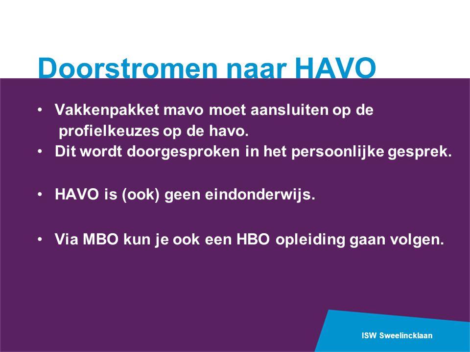 ISW Sweelincklaan Doorstromen naar HAVO •Vakkenpakket mavo moet aansluiten op de profielkeuzes op de havo.