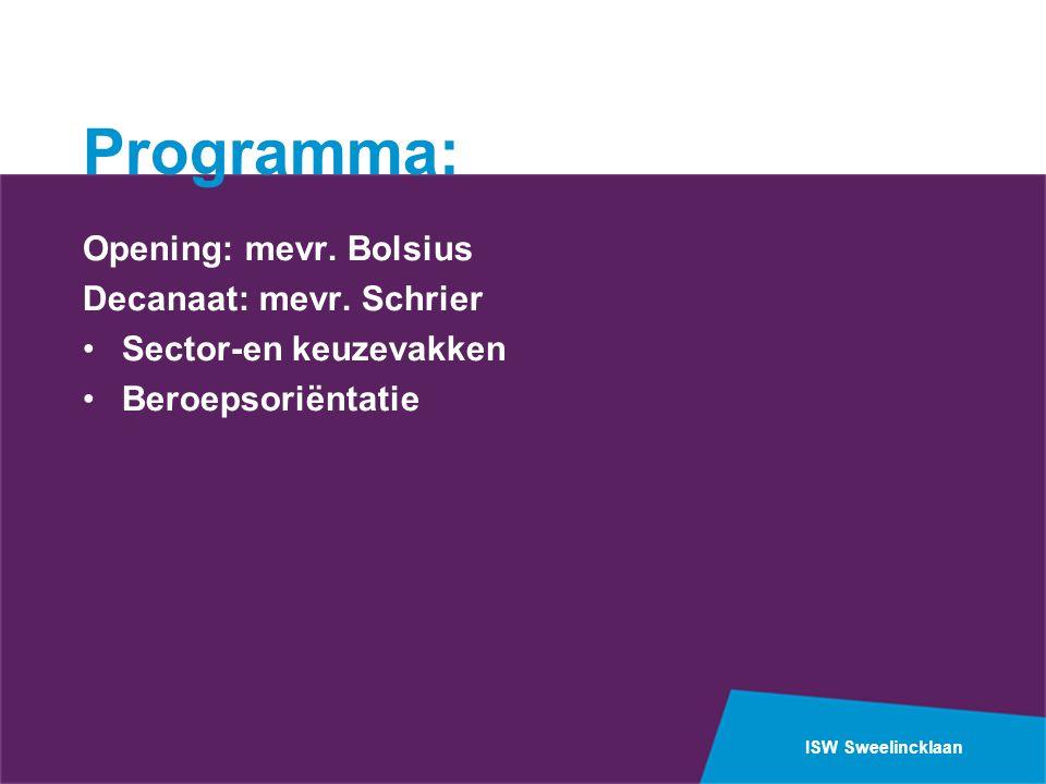 ISW Sweelincklaan Programma: Opening: mevr.Bolsius Decanaat: mevr.