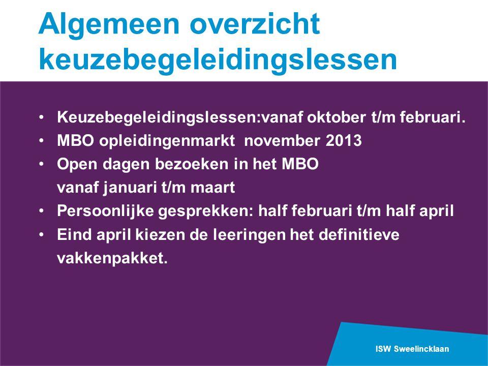 ISW Sweelincklaan Algemeen overzicht keuzebegeleidingslessen •Keuzebegeleidingslessen:vanaf oktober t/m februari.