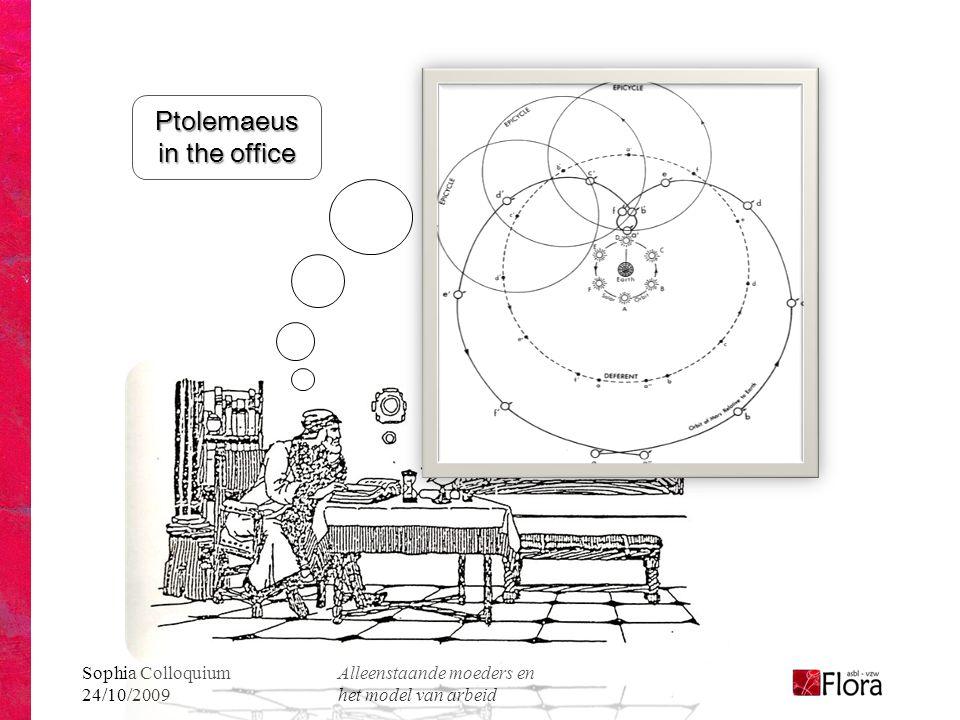 Sophia Colloquium 24/10/2009 Alleenstaande moeders en het model van arbeid Ptolemaeus in the office